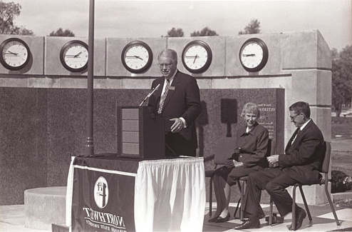 Joyce and Harvey White are honored by President Dean Hubbard at the International Plaza dedication ceremony in 1998.
