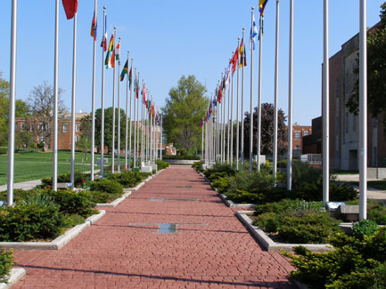 The plaza, modeled after the one outside the United Nations in New York City, is a symbol of Northwest's commitment to international understanding and cooperation.