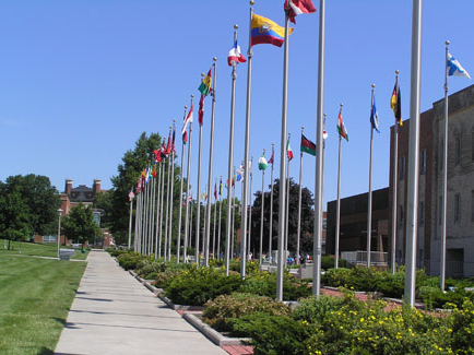 The International Plaza, which consists of the Friends of the Wall & World Clock and the Boulevard of Nations, displays 54 flag and 5 clocks. The Boulevard of Nations runs approximately 300-feet north from West Fourth Street to the center of campus, where a large flower and circular seating area is located.